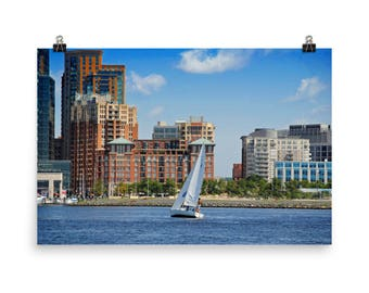 Inner Harbor Baltimore Sailing, Baltimore Skyline, Sailing, Baltimore Art, Water Sports, Museum Quality Poster Print
