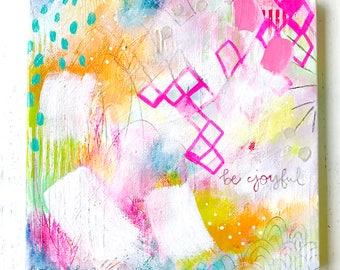 "Abstract Painting/ ""Be Joyful""/ Fullness of Joy Collection/ 8x8 inch Canvas/ Colorful Home Decor/ Wall Art/ Joy Themed Art"