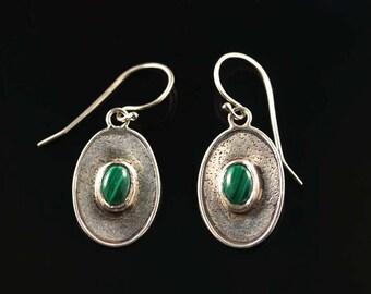 Malachite Shield Earrings