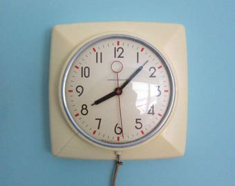 Captivating Vintage Kitchen Clock, Cream Kitchen Clock, Mid Century Kitchen Clock, Retro  Kitchen Clock