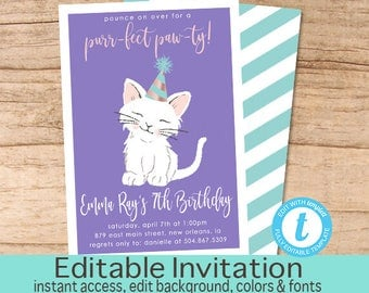 Cat Birthday Invitation, purr-fect paw-ty Invitation, Editable Birthday invite, Girl Kitten Invitation, Cat, Templett, Instant Download