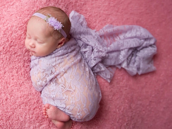 Stretch Lace Swaddle Wrap in Lavender AND/OR Organza Flower headband, bebe foto, newborn photo shoots, newborn wrap set, Lil Miss Sweet Pea