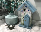 Birdhouse, Decorative Hand Painted Bird House Country Home Decor, Handmade Birdhouses, White & Blue with Pink Flowers, Item #552646170