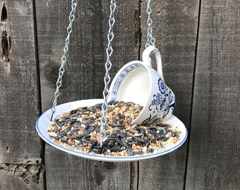 Antique Teacup & Saucer Feeder for Bird Seed, Wild Birds Best Bird Feeder, Handmade Outdoor Garden Bird Feeding Tray, Item #539143659