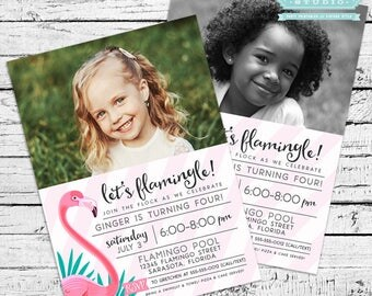 Flamingo Photo Invitation