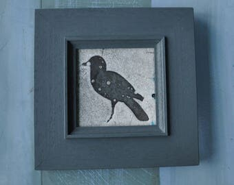 Rook framed ceramic raku panel