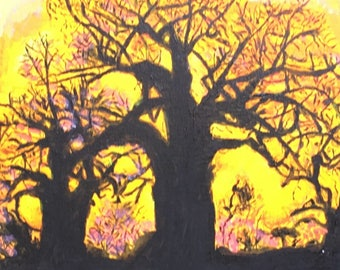 Acrylic Painting of Trees in the Sunset