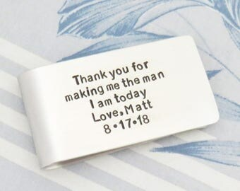 Personalized wedding gift for father of the groom - Father of groom gift from the groom - Signed money clip gift for dad from groom