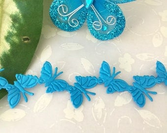 Turquoise Satin Butterfly Trim For Crafting, Scrapbooking, Party Favors, Embellishment Favor Boxes, Card Making, 0.75 inch / 19 mm Wide