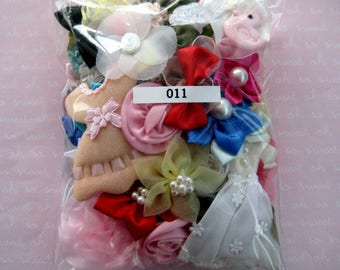Assorted Appliques, GRAB BAG, Multi Combo for Sewing, Crafting, Scrapbooking Embellishment, Hair Accessories, Doll Clothes, 1 Bag, 2 oz, 011