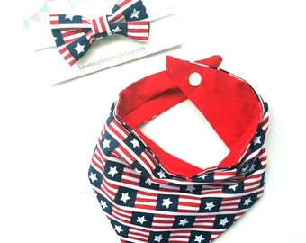Bib bow set, july 4th bib set, dribble bib, Triangle bibs, star bandana bib, bib, baby gift set, modern bib, modern baby gift, scarf bib