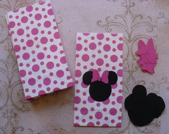 Minnie Mouse Hot Pink White Polka Dot Small / Mini Gift Bags for DIY Goody Bags Black Head Shapes Bows DIY Kids Birthday Party Bags