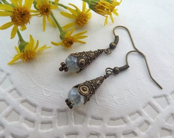 Decorative Cone Brass Dangle Earrings with Cloudy White Crystal Bead
