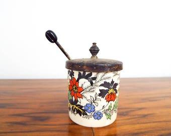 Antique British Staffordshire Porcelain Mustard Pot by Lancaster & Sandland Ltd, Red Floral Flower Accoutrement Serving Bowl with Spoon