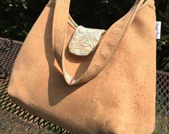 cork purse vegan purse cork fabric bag phoebe bag natural cork bag