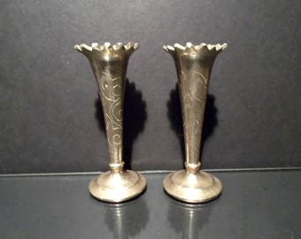 Brass Candle Holders Petite Wedding Decor Floral Embossed