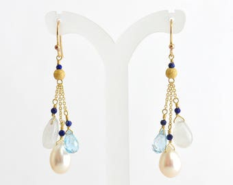 Freshwater pearl, Moonstone, Sky Blue Topaz Earrings, Gift For Her, Blue stone long earrings, Wedding jewelry, June Birthstone Jewelry