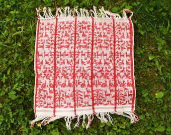 """Woven Table Cloth, Folk Art Textile Wall Hanging, Throw, Red White, Animal Motif, 28"""" x 28"""" with Fringed Edge"""