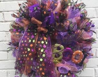 Halloween Boo Mesh Ribbon Wreath, Halloween Wreath,Boo Wreath, Halloween Decor