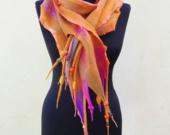 "Ginger miracle"", soft and colorful wet felted wool scarf,orange, fuchsia and purple pure wool and silk unique one-of-a-kind nunofelted scarf"