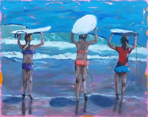 Girls surfing, surf board art, surfing, beach art, surfer girls, girls with surfboards, girls bedroom decor, surf art, art print surfboards
