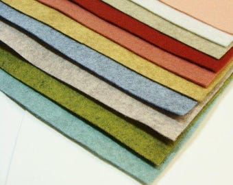 Lovely 10 Color Pack Merino Wool Felt Blend Fabric Sheets