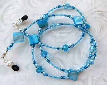 BLUE TROPICS- Handcrafted Beaded Eyeglass Lanyard- Mother of Pearl Beads and Sparkling Crystals