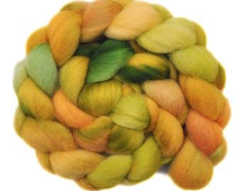 Handpainted roving - Corriedale Cross wool spinning fiber - 4.1 ounces -  Fading Summer 1