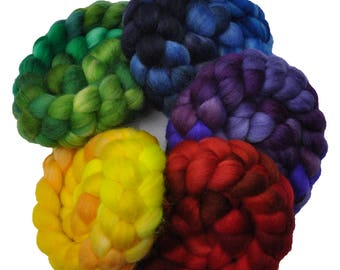 Hand Dyed Superwash BFL wool / Nylon 80/20% Roving Rainbow 5-Pack spinning fiber - 10 ounces