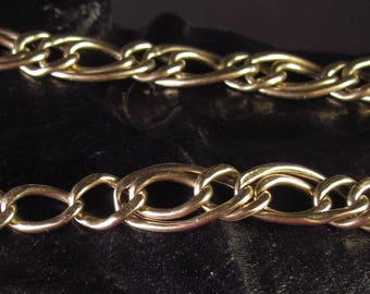 14k 585 Yellow Gold Double Oval Link Charm Bracelet 7.5""