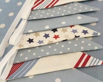 Boys stars,stripes& spots cotton fabric bunting   banner,fabric bunting,flag  garland,Birthday party bunting,playroom decor,baby shower