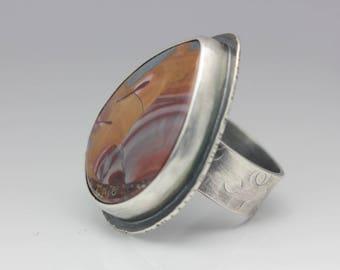 Mescalero Jasper Ring, Jasper & Sterling Ring, Boho Ring, Porcelain Jasper, Statement Ring, Unisex, Size 8
