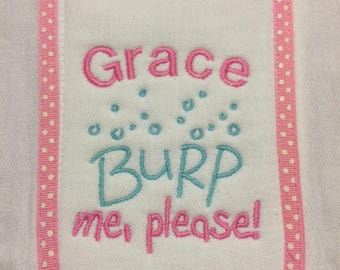 Baby Girl burp cloth shower gift