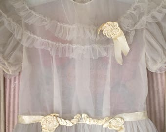 Girls Vintage Dress 1940s Breathtaking Ethereal Gray Shabby Chic for children - or display AS IS Size 4-6 range