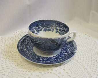 Deep blue vintage cup & saucer set