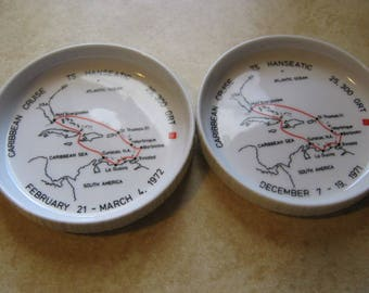 Two (2) Rosenthal Germany TS Hanseatic Cruise Ship Coasters 1971 1972