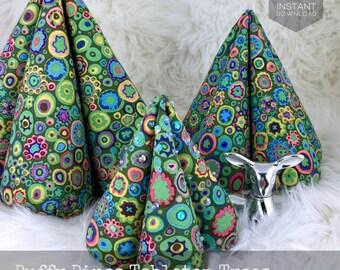 Puffy Pines Tabletop Trees Pattern, Fabric Christmas Decoration, Christmas Pincushion, DIY Holiday Decoration,  Kaffe Fassett Fabric