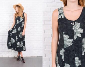 Vintage 80s Black Retro Abstract Print Dress Flower Maxi Small S 9886