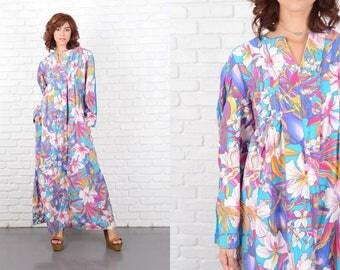Vintage 70s Bue Maxi Dress Pink Floral Print Parrot Bird Hippie Boho Large 10195