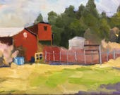 Backyard Garden Plein Air Landscape Oil Painting on Canvas