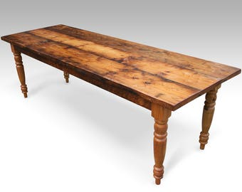 """6 Foot (72"""") Rustic Pine Farm Table with Turned Legs"""