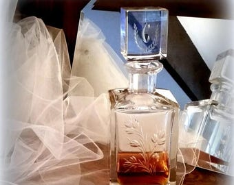 """CIJ SALE 60s Initial """"E"""" Decanter - Crystal - Autumn Leaf Motif - Owned by High Profile Political Family"""