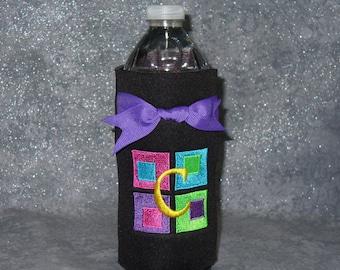 Bottle, Beverage Holder, Color Blocks, Monogram, Water Botte Cozy