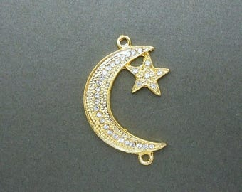 10% off July 4th Gold Crescent Moon Charm Pendant -- Gold tone Crescent Moon with Star Double Bail Charm Pendant with Rhinestone CZ Pave (S1