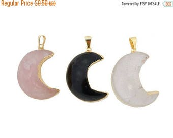 15% off Christmas in July Gemstone Moon Crescent Pendant with Electroplated 24k Gold Edge. (S121B1)