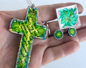 Oceans song Hillsong Lyrics Christian Faith Cross Jewellery set Necklace long Stud earrings Ring Hand painted One of a kind Statement pieces