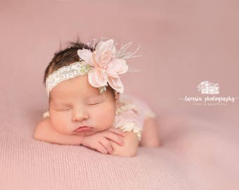 Light Pink Feather Headband, Floral Newborn Headband, Baby Girl Headband, Feather Headband, Pink Headband, Photo Prop