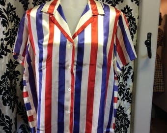 Red,White, and Blue Silk Blend Blouse