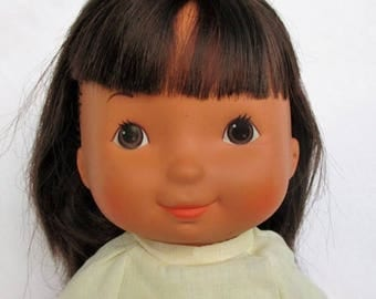 "20% Summer SALE Vintage 1978 My Friend Jenny Doll with Dark Hair, Brown Eyes, Dark Skin by Fisher Price 16"" doll 212"