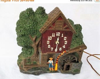 20% Summer SALE Vintage Spartus Electric Wall Shelf Clock Made In USA, Boy Fishing At Water Wheel...Works...With Light, RARE